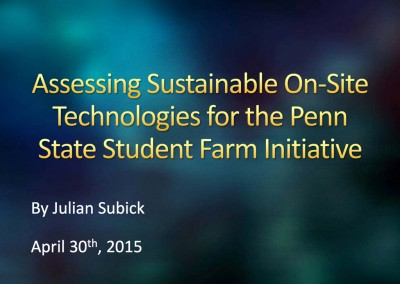 Sustainability and Cost of Production Technologies